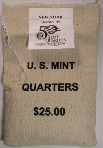 click for larger picture of 2001 P New York Mint Sewn Coin Bag $25