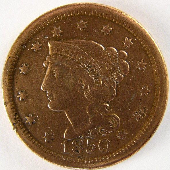 click for larger picture of 1850 Large Cent