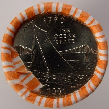 click for larger picture of 2001 P Rhode Island State Quarter Roll Unc