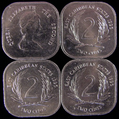 click for larger picture of 1995 East Caribbean States Two Cents