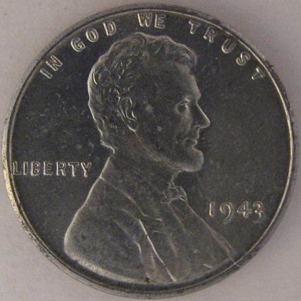click for larger picture of 1943 Lincoln Cent zinc-coated steel