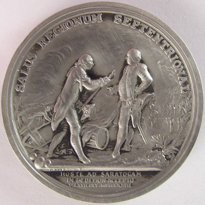 click for larger picture of General Horatio Gates Medal (pewter reproduction)