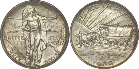 click for larger picture of 1936 S Oregon Trail Commemorative Half Dollar