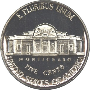 click for larger picture of 1958 Jefferson Nickel Proof