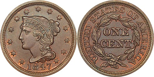 1847 Large Cent  Coronet Braided Hair