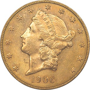 click for larger picture of 1906 S $20 Liberty Gold Double Eagle