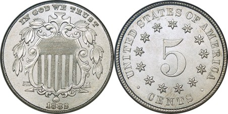 click for larger picture of 1882 Shield Nickel
