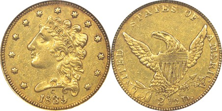 click for larger picture of 1839 C Classic Head Gold Quarter Eagle