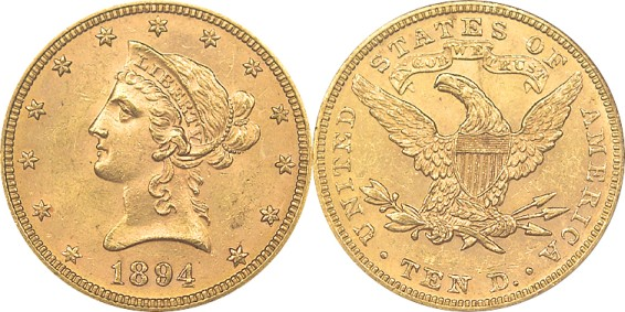 click for larger picture of 1894 $10 Coronet Gold Eagle