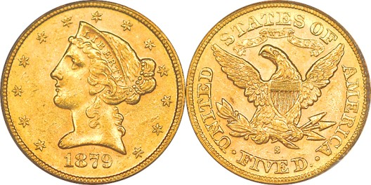 click for larger picture of 1879 S Coronet $5 Gold Half Eagle