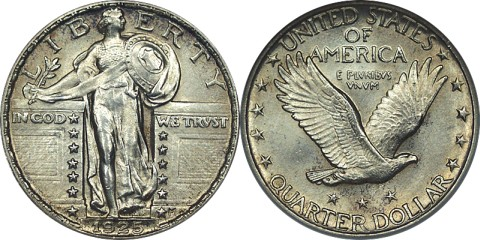 click for larger picture of 1925 Standing Liberty Quarter Dollar