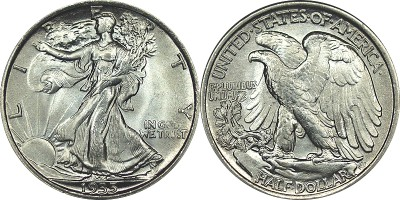 click for larger picture of 1935 Walking Liberty Half Dollar
