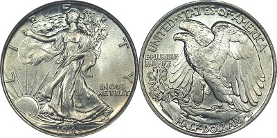 click for larger picture of 1943 Liberty Walking Half Dollar