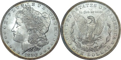click for larger picture of 1880 Morgan Dollar