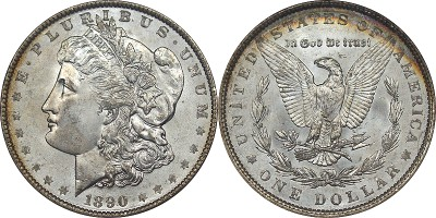 click for larger picture of 1890 Morgan Dollar