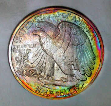 click for larger picture of 1942 Liberty Walking Half Dollar Toned