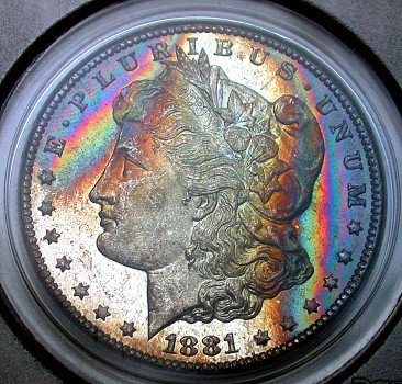 click for larger picture of 1881 CC Morgan Dollar PL Toned
