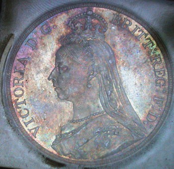 click for larger picture of 1887 Great Britain Crown Toned