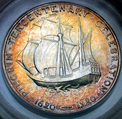click for larger picture of 1920 Pilgrim Tercentenary Commemorative Half Dollar