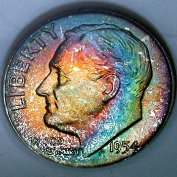 click for larger picture of 1954 Roosevelt Dime Toned