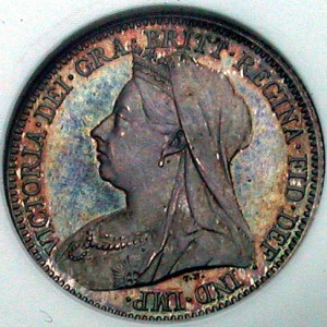 click for larger picture of 1893 Great Britain 6 pence Victoria