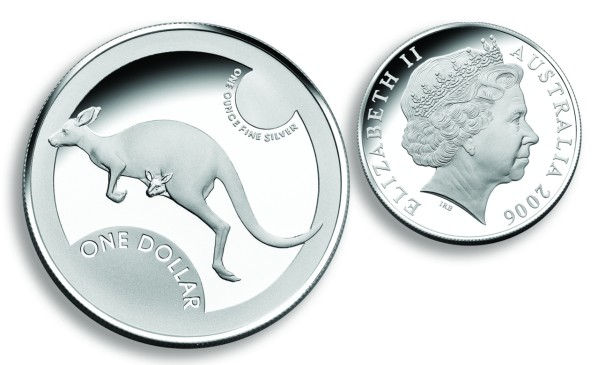 click for larger picture of 2006 Australian Silver Kangaroo Proof Dollar