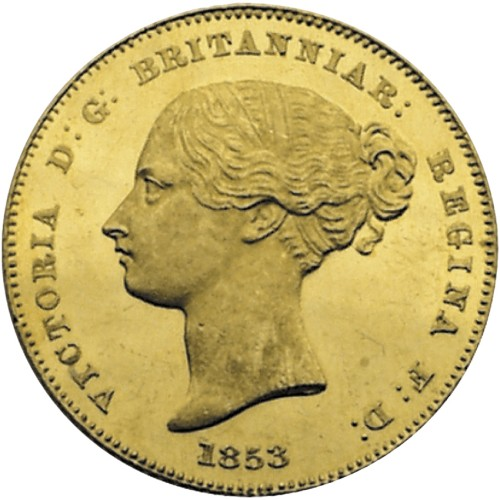 click for larger picture of 1853 Australian Gold Half Sovereign Sydney Mint Pattern