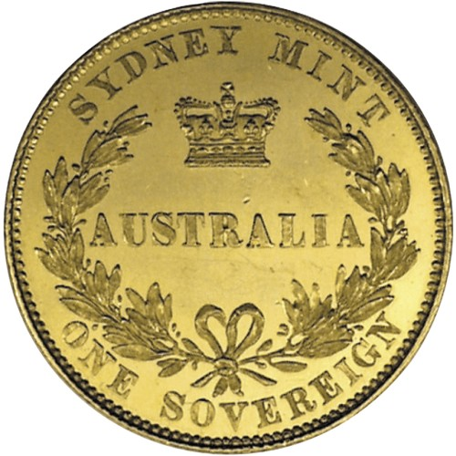 click for larger picture of 1853 Australian Gold Sovereign Sydney Mint Pattern