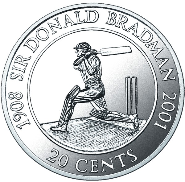 click for larger picture of 2001 Australian 20 Cents - batsman Sir Donald Bradman