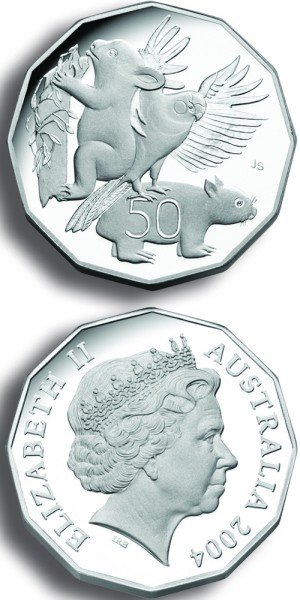 click for larger picture of 2004 Australian 50 Cents Proof 12-Sided (Primary School Student Coin Design)