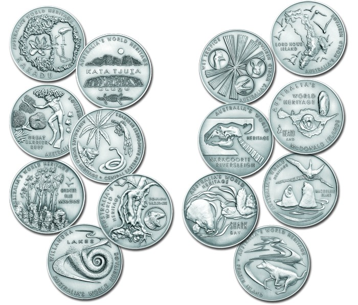 click for larger picture of 2003 Australian Silver Medallions World Heritage Areas