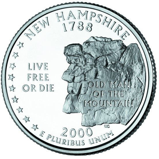 click for larger picture of 2000 P New Hampshire State Quarter