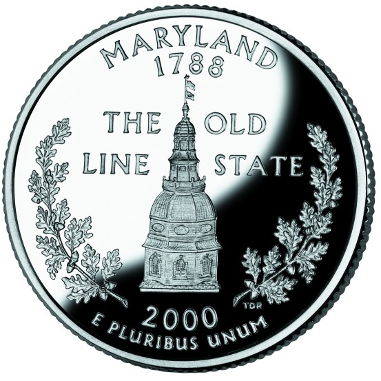 click for larger picture of 2000 S Maryland State Quarter Dollar Proof