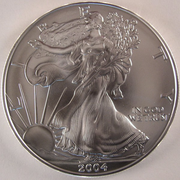 click for larger picture of 2004 American Silver Eagle Uncirculated 1oz
