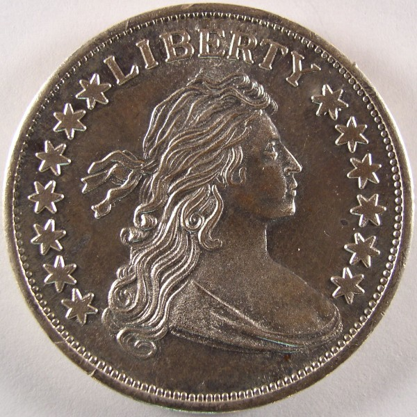 click for larger picture of Bust Half Type 1 ounce silver round