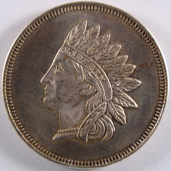 click for larger picture of Indian Head Cent Type 1 ounce silver round