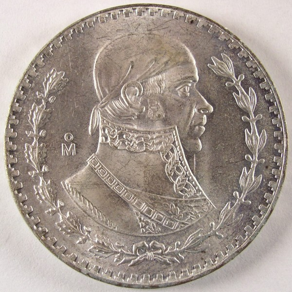 click for larger picture of 1958 Mexico 1 Peso Jose Morelos