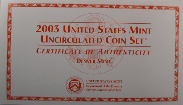 click for larger picture of 2003 US Mint Set Denver