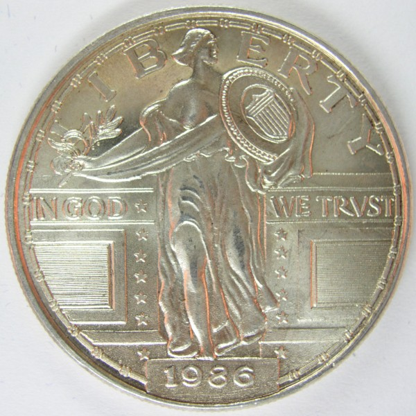click for larger picture of 1986 Standing Liberty Quarter type silver round