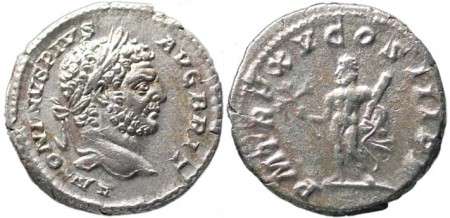 click for larger picture of 197 - 217 AD Caracalla Silver Denarius