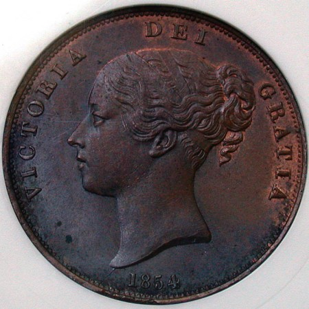 click for larger picture of 1854 Great Britain Penny Victoria