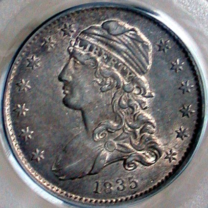 click for larger picture of 1835 Capped Bust Quarter Dollar No Motto