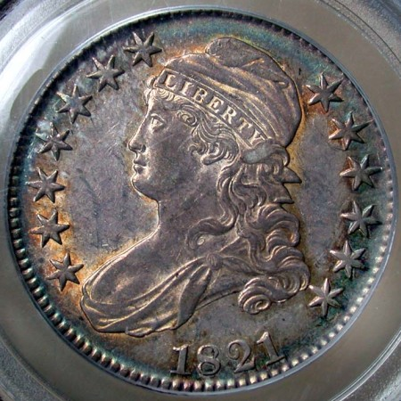 click for larger picture of 1821 Capped Bust Half Dollar
