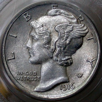 click for larger picture of 1916 D Mercury Dime FB Full bands