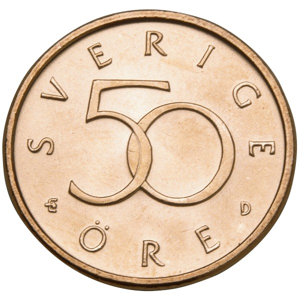 click for larger picture of 1992 D Sweden 50 Ore