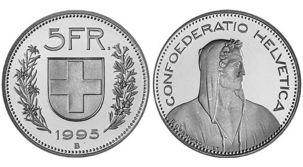 1995 B Swiss 5 Francs