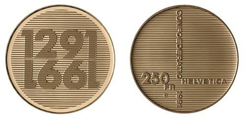 1991 B Swiss 250 Gold Francs 700 Years of Confederation