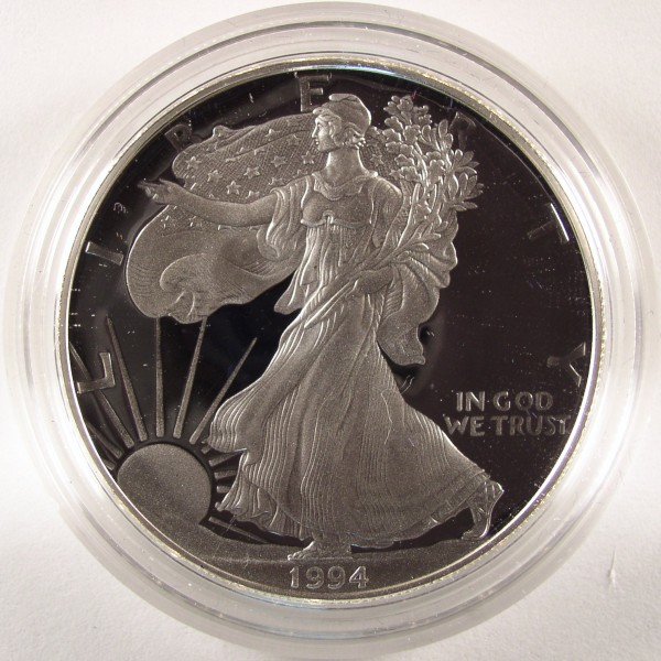click for larger picture of 1994 P US Silver Eagle Proof