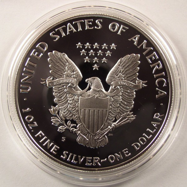 click for larger picture of 1991 S American Silver Eagle Proof