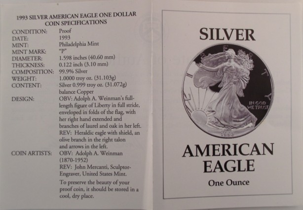 click for larger picture of 1993 P US Silver Eagle Proof